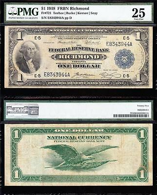 "VERY NICE Bold & Crisp VF 1918 Richmond $1 ""GREEN EAGLE"" FRBN! PMG 25! E8343944A"