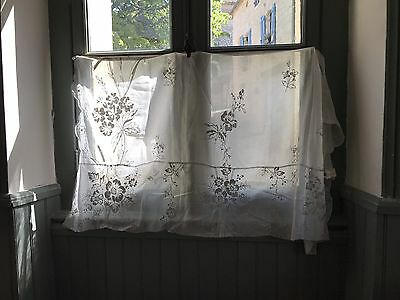 Antique French Chateau Cornelli Tambour Lace Curtain Reworking For Project