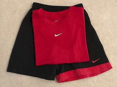Nike Boys Size 7 Outfit Red Dri-fit Top & Black Shorts