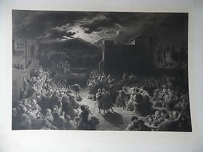 RARE Lge Gustave Dore Mezzotint, Signed. After the Crucifixion'.