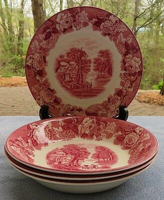 Set of FOUR Wood & Sons Pink Transferware English Scenery Soup Bowls
