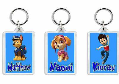 Personalised Paw Patrol Keyring / Bag Tag - Add any name *Great Gift* Large size