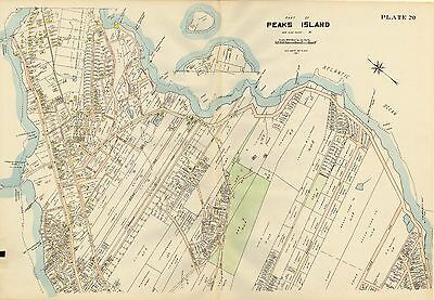 MAINE GREAT /& LITTLE DIAMOND ISLANDS FORT McKINLEY COPY ATLAS MAP 1914 PORTLAND