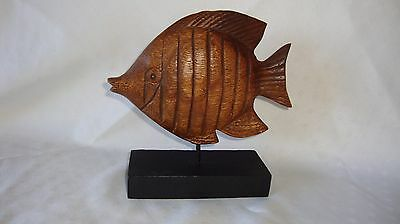 Carved Wood Fish on Stand