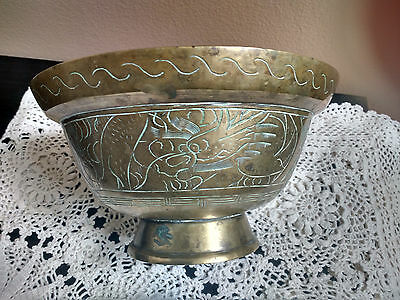Vintage/Antique Heavy Etched Brass Footed Bowl Marked