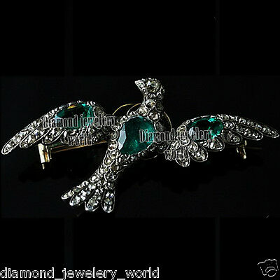 Vintage Estate 3.89cts Rose Cut Diamond Emerald Silver Bird Jewelry Pin Brooch