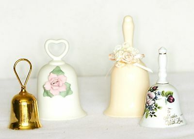 Collectible Ceramic Bells Lot of 4 Various Colors Sizes Mother Floral Gold Plate