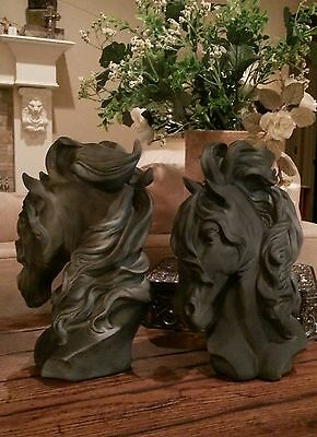 Friesian Andalusian Arabian War Horse Sculpture statue Set Faux Stone Bookends