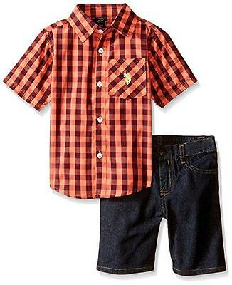 U.S. Polo Assn Little Boys S/S Plaid Woven Shirt 2pc Denim Short Set 4 5 6 7