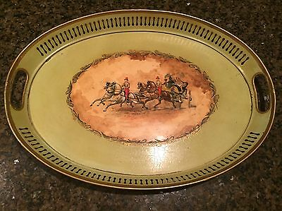 Vintage Serving Tray Very Old Painted Toleware Metal Stagecoach Antique Rare!