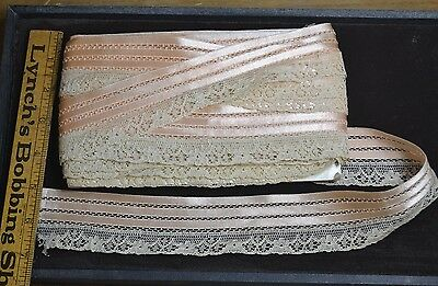 silk cotton lace trim edge 1.75 x 15 yd pink white doll clothes lingerie antique
