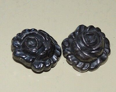 2 Vintage Black Metal ? Buttons Silver Rose