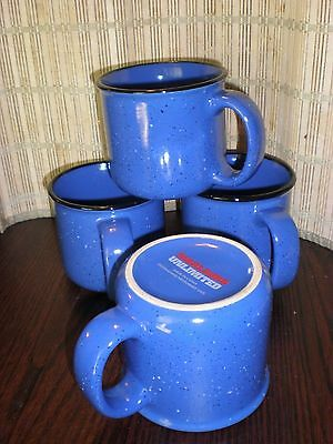 Set of 4 Marlboro Unlimited Blue Speckled Stoneware Ceramic Coffee Mugs
