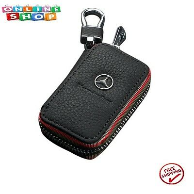 Car key Chain bag Genuine Leather Car Smart Wallet Zipper Case For Mercedes Benz
