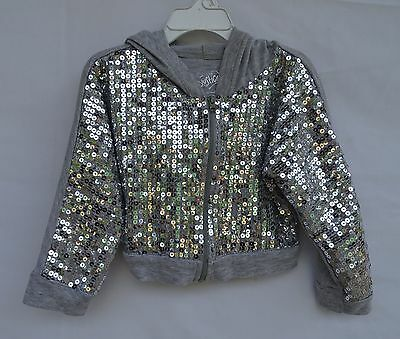 JUSTICE HOODIE SHIRT JACKET cotton poly Front LOADED W/ SEQUINS L/S Size 7