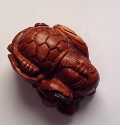 Old Carved Wood Netsuki Bead Turtle Buddha Chinese Japanese God