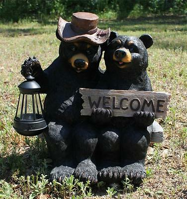 """New  Black Bear Couple in Love Statue Sculpture Solar Light Welcome Sign 15"""""""