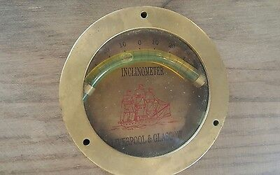 vintage brass nautical inclinometer liverpool and glasgow inclineometer