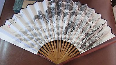 Vintage Chinese Hand Fan Flower & Calligraphy Cloth Rosewood Handle EUC with box