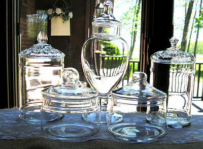 5 Clear Glass Apothecary Candy Display Storage Buffet Bridal Jars Lot set C