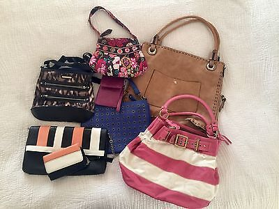 handbags, lot of 8, purses, wallets, leather, cotton and nylon