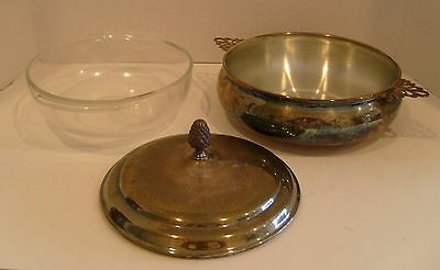 VINTAGE SHEFFIELD SILVERPLATE CASSEROLE DISH and LID with Pyrex Glass Bowl
