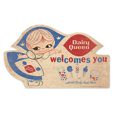 """36"""" NOS Classic Design DQ Collectible Little Miss Dairy Queen Tin Welcome Sign"""