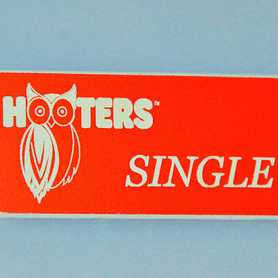 """SINGLE"" - HOOTERS GIRL UNIFORM ORANGE NAME TAG BADGE - excellent condition"