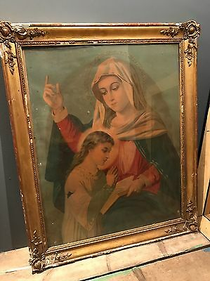 Antique Vintage Madonna Virgin Mary Religious Icon Print Painting Framed