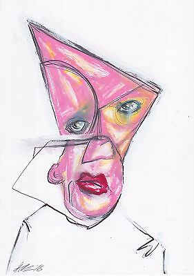 Original Art Color Drawing Portrait Abstract Surreal Ink Outsider