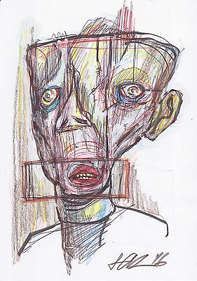 Original Art Color Collage Drawing Portrait Abstract Surreal Ink Outsider