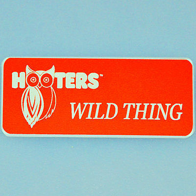 """WILD THING"" - Hooters Girl Uniform Orange Name Tag Badge Pin - A+ Condition"