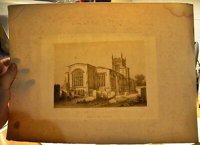 ANTIQUE 1800s COUGHTON CHURCH Warwickshire set of prints INTERIOR vintage