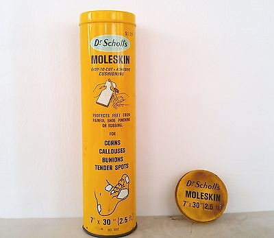 Vintage 1960's Doctor Scholl's Moleskin Adhesive Cushioning Tin w/ Contents Feet