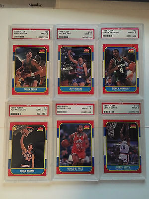 1986 Fleer Basketball Lot of 6 Cards Graded PSA 8 no reserve .99 auction