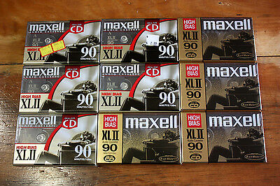 Lot of 9 New Sealed Maxell XLII 90 Type II High Bias Cassette Tapes