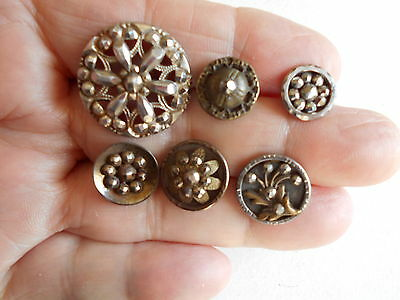 -Antique/vintage 6 Metal Buttons With Cut Steels #642
