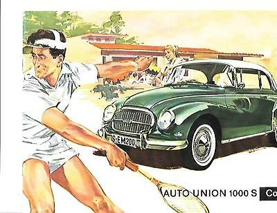 AUTO UNION 1000 S COUPE  CAR SALES BROCHURE,EARLY 60's ENGLISH LANGUAGE