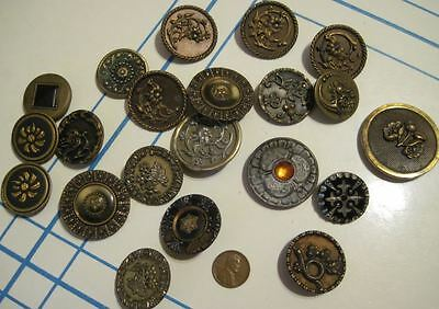 Antique Victorian Buttons All LARGE 21 Celluloid Floral Black Glass Marcasite +