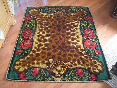 Antique Chase Horse Hair Carriage Buggy Sleigh Blanket Tiger Wall Rug Roses 61""