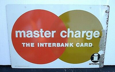 Vintage Metal Master Charge, Master Card Sign, Double Sided