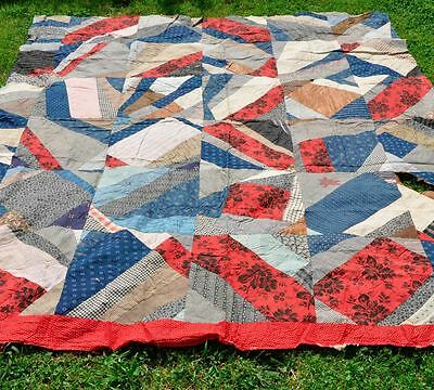 1880-1910: Red White Blue Crazy Antique Vintage Quilt Top: Oozes Primitive Charm