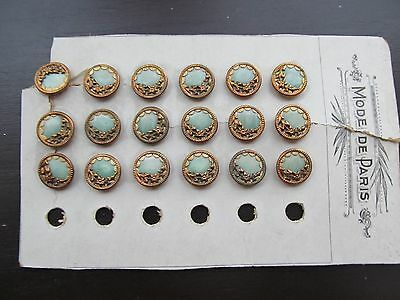 Vintage/antique Carded Lot 18 Fancy Metal/celluloid Buttons