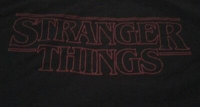 Stranger Things Used Black T Shirt Red Graphic Adult Small Great