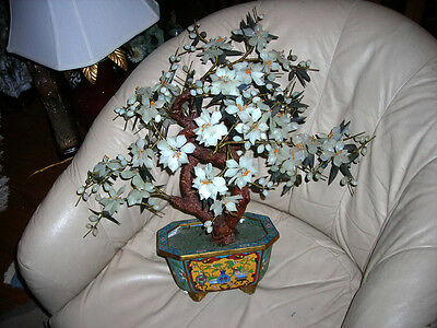 Gorgeous Quality Vintage/ Antique Chinese Cloisonne Jade Tree Large 22X21X12