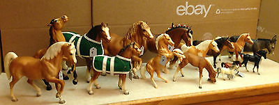 Herd of 18 Vintage Horses:16 Copyright Breyer, Breyer PU Truck, Breyer Tack Barn