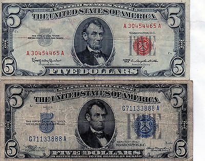 1934-A $5 Blue Seal- 1963 Red Seal United States Note  ( Circulated )