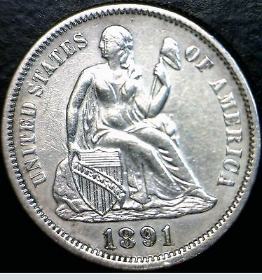 1891 LOVE TOKEN AU ++ Seated Dime Silver Coin Lot #9 of 100 Auctions  NO RESERVE