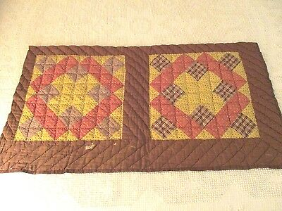 Double Antique Handmade Cutter Quilt Block Runner or for  Crafts 18 X 34""