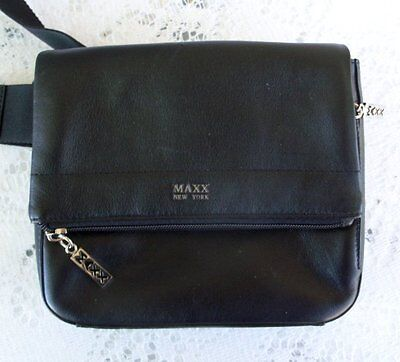 Maxx New York Black Leather Fanny Waist Pack ~ Excellent!